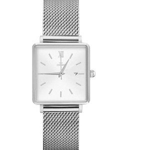 Women's stainless steel mesh quartz wristwatch